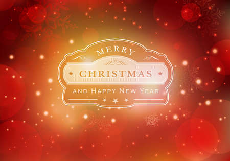 Red abstract background with light effects, blurry light dots and snowflakes. Centered is a label with the lettering Merry Christmas and Happy New Year. Vector