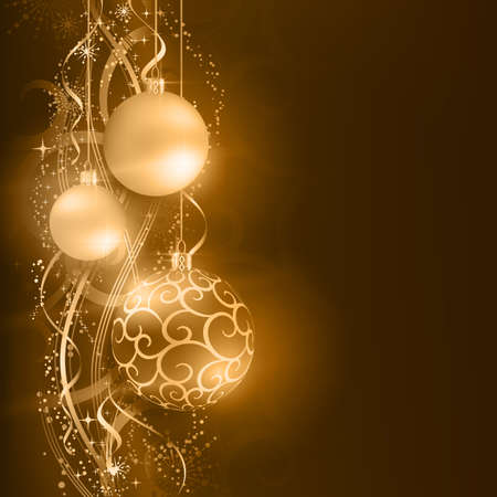festivity: Border with golden, desaturated Christmas balls hanging over a golden wavy pattern with stars and snow flakes on a dark brown background. Vivid and festive for the Christmas season to come.