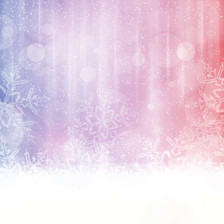 Fondo abstracto del invierno en tonos de tonos azules, rojos y morados. Los efectos de luz, nevadas grandes copos de nieve le dan un invierno de ensueño y festivo ambiente de Navidad. Espacio para el texto. Vectores