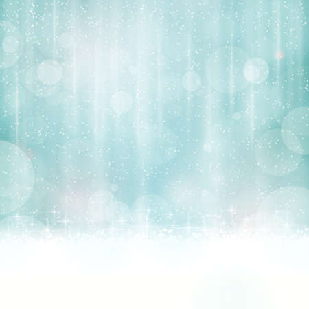 Abstract background in winter colors with blurry light dots. Stars and light effects give it a dreamy, soft feeling and a glow perfect for the festive Christmas season to come. Copy space. Ilustração