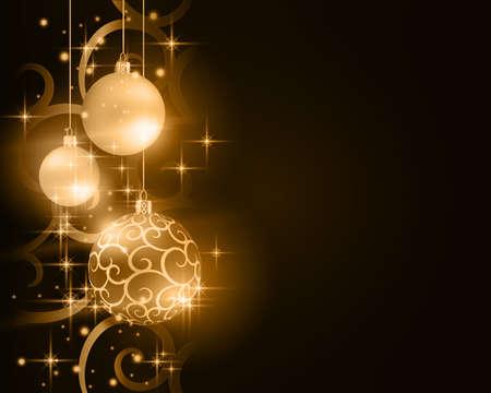 Bordure avec des boules de Noël dorées et désaturées, suspendue au-dessus d'un motif de fond en spirale avec des étoiles et des effets de lumière sur un fond marron foncé. Vecteurs