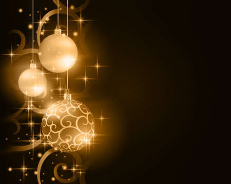 Border with golden, desaturated Christmas balls hanging over a scroll background pattern with stars and light effects on a dark brown background. Illustration