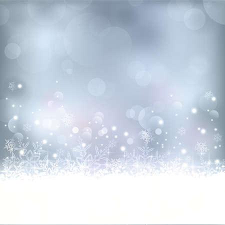 il natale: Invernale sfondo blu astratto con fuori fuoco puntini di luce, stelle, fiocchi di neve e lo spazio della copia. Grande per le feste di Natale a venire o qualsiasi altra occasione d'inverno.