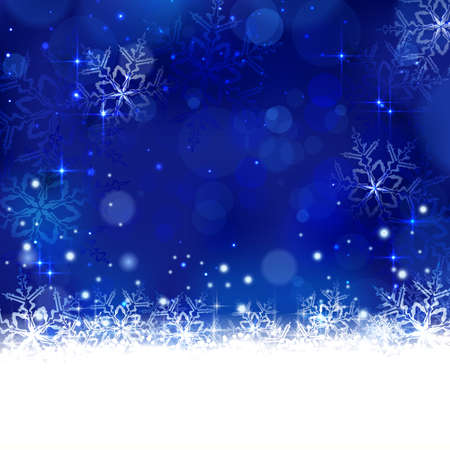 Christmas background with shiny light effects, blurry lights, and glittering snowflakes in shades of blue. Great for the any winter design and festive season of Christmas to come. Vector
