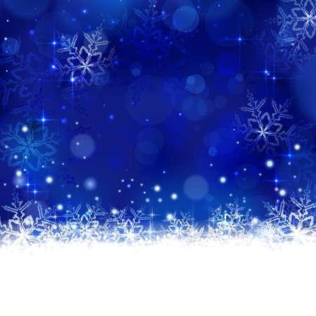 happy holidays: Kerst achtergrond met glanzende lichteffecten, onscherpe lichten, en glinsterende sneeuwvlokken in de kleuren blauw. Geweldig voor de eventuele winter ontwerp en feestelijke seizoen van Kerstmis te komen. Stock Illustratie