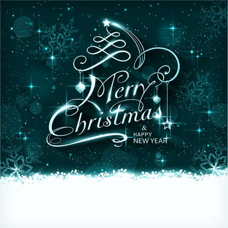 Dark blue Christmas background with ornaments and the lettering Merry Christmas and Happy New Year. Light effects, snowfall, stars and snow flakes give it a magical and festive feeling. Vector