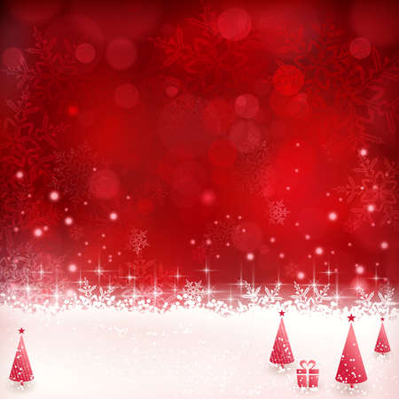 background illustration: Christmas background with shiny light effects, blurry lights, Christmas trees and glittering snowflakes in shades of red. Great for the festive season of Christmas to come.