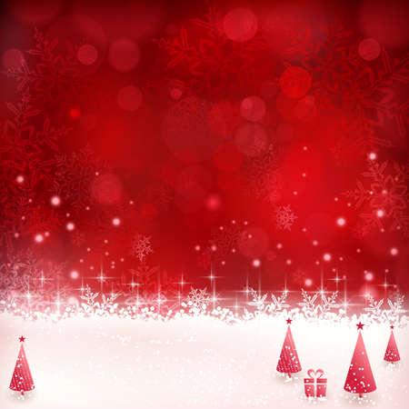 background: Fond de Noël avec des effets brillants de lumière, lumières floues, arbres de Noël et des flocons de neige scintillants dans les tons de rouge. Idéal pour la saison des fêtes de Noël à venir.