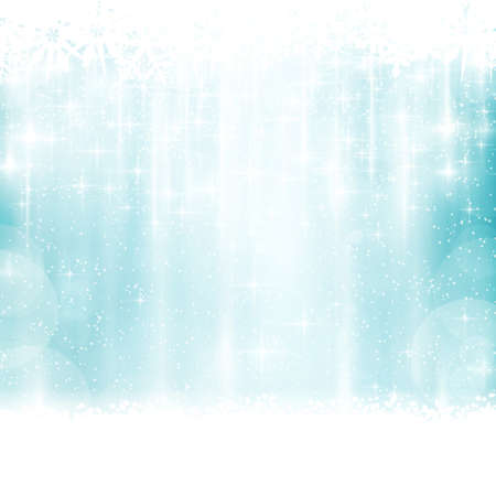 Abstract blue background with faintly visible vertical stripes, blurry lights, stars and snow flakes. Light effects give it a festive feeling  for any festive Christmas, winter design.