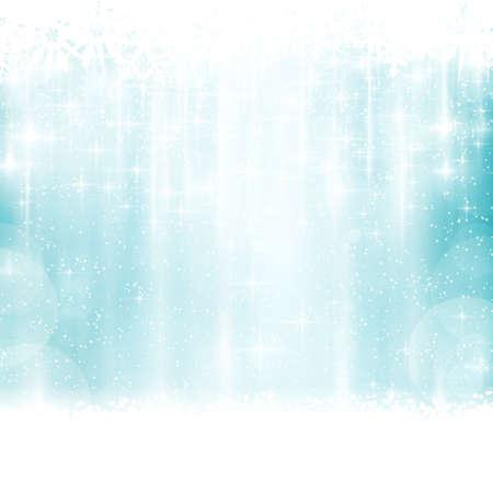 azul turqueza: Resumen de fondo azul con rayas verticales apenas visibles, luces borrosas, estrellas y copos de nieve. Los efectos de luz le dan un ambiente festivo para cualquier navidad, dise�o festivo invierno.