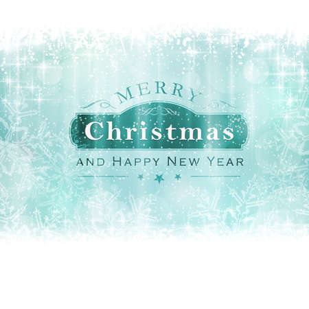 Christmas background with light effects and blurry light dots in shades of winter blue greens and white. Centered is a label with the lettering Merry Christmas and Happy New Year. Illustration