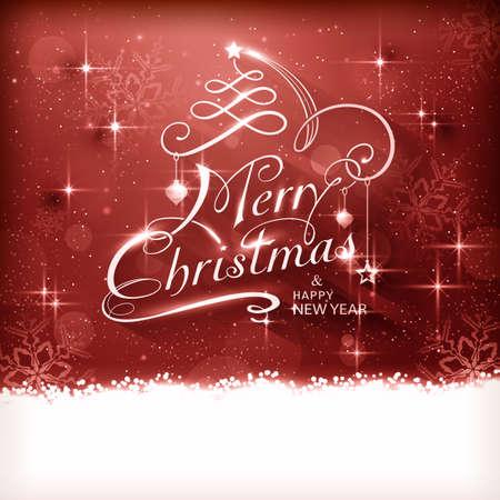 effetti di luce: Natale tipografia sfondo con effetti lucidi di luce, luci sfocate, e scintillanti fiocchi di neve nei toni del rosso e il testo di Buon Natale e Felice Anno Nuovo. Vettoriali