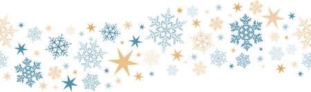 estrellas de navidad: Diseño de la frontera ondulada con copos de nieve y estrellas que se teja perfectamente horizontal. Grande para la decoración de cualquier invierno o diseño de la Navidad.