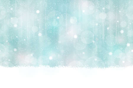 xmas background: Abstract background in winter colors with blurry light dots. Snowfall and light effects give it a dreamy, soft feeling and a glow perfect for the festive Christmas season. Seamless horizontally