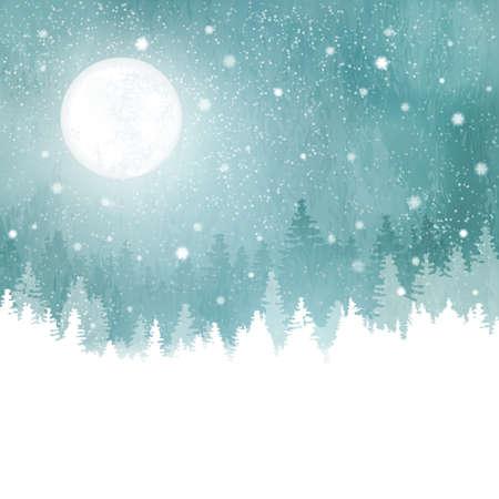 Fondo abstracto del invierno con hileras de árboles de abeto, la luna llena y las nevadas. Tranquilo paisaje de invierno en tonos de azul, verde. espacio de la copia.
