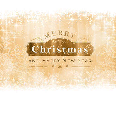 snow flake: Christmas background with light effects and blurry light dots in shades of golden with a label with the lettering Merry Christmas and Happy New Year.