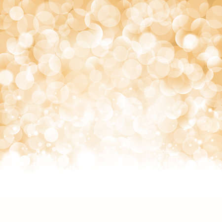 bokeh: Christmas background with light effects and blurry light dots in shades of beige, golden and white. Centered is a label with the lettering Merry Christmas and Happy New Year.