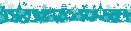 Flat monochrome border design with Christmas and winter symbols that will tile seamlessly horizontally. Great for decoration. Illustration