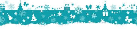 christmas star: Progettazione di confine monocromatico piatto con Natale e l'inverno simboli che verr� affiancata perfettamente orizzontale. Grande per la decorazione.