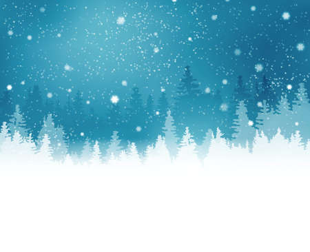 greetings from: Abstract winter background with rows of fir tree silhouette and snowfall. Peaceful winter landscape in shades of blue. Copy space. Illustration