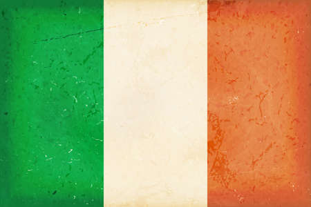 irish pride: Vintage style flag of the Republic of Ireland. Grunge Elements give it an used and dirty feeling. Hoist (width)  Fly (length) of the flag = 1 to 2