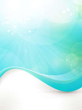 Fondo de diseño abstracto en tonos de azul y verde. Montaje de fresco, concepto limpio, sol, agua, bajo el agua, etc. Vectores