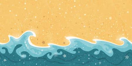 Carrelage Horizonatlly frontière créant un pattern détresse des vagues et des bulles sable et l'eau. Grand soleil estival élément de conception de vacances. Vecteurs