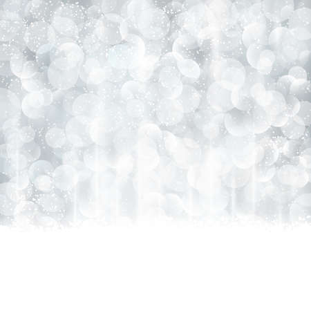 snow fall: Bright and festive silver background with snow fall and bokeh lights. Beautiful template for Christmas and winter cards.