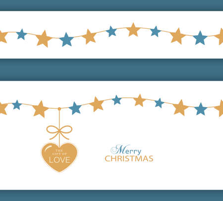 blue stars: Set of two borders which can be combined and will tile seamlessly. Stars hanging on a string with a heart with ribbon saying The Gift of Love. Illustration