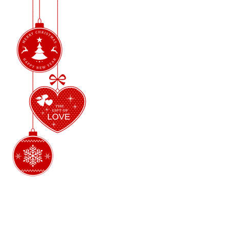 modern christmas baubles: Hanging Christmas balls and heart with the writing Merry Christmas and Happy New Year and The Gift of Love for the festive season to come. Illustration