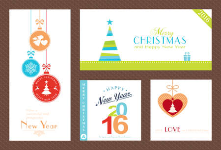 christmas baubles of modern design: Flat, modern Christmas and Happy New Year backgrounds isolated on white with baubles, Christmas trees and sayings for the festive season to come.