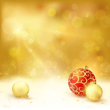 new year's card: Golden Christmas background with light effects. Christmas baubles, blurry light dots and lights from above give it a festive and dreamy feeling.