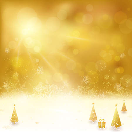out of focus: Festive golden background with stars, snowflakes, Christmas trees and gift. Out of focus light dots and light effects with light from above give it a festive and dreamy feeling.