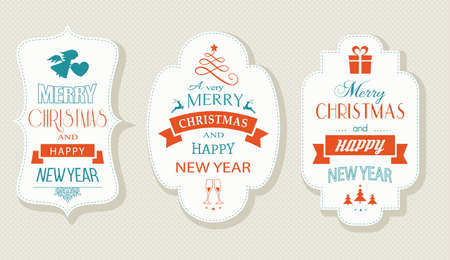 happy new years: Set of Christmas and New Years labels with various Christmas symbols and the wording, Merry Christmas and Happy New Year. Designs for the festive season to come.