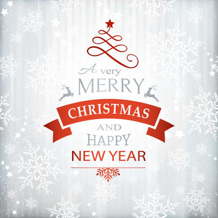 faint: Silver textured background with snowflake pattern and faint stripes as base for the wording, Merry Christmas and Happy New Year embellished with Christmas Ornaments. Illustration