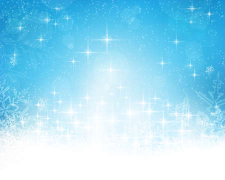 sparkle background: Festive blue white background with stars, snowflakes, out of of focus light dots and light effects which give it a festive and dreamy feeling. Copy space.