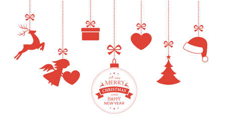 renos navide�os: Varios cuelgan adornos de Navidad como la chucher�a de la Navidad, sombrero de santa, reno, �ngel, coraz�n, el presente y el �rbol de Navidad con una cinta formando una frontera vers�til aislado en blanco.