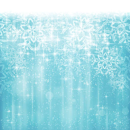 Abstract Christmas, winter background in shades of white and blue tones. Light effects, snowfall and big snow flakes give it a dreamy and festive feel. Space for your text.