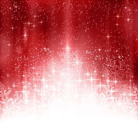 Shiny light effects with sparkling stars and glittering snowflakes forming a stylized Christmas tree on a red abstract backdrop. Great for the festive season of Christmas to come.