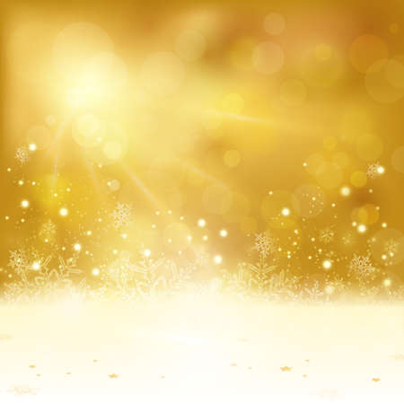 light effects: Festive golden Christmas background with stars snowflakes, and copy space. Out of focus light dots and light effects with light from above give it a festive and dreamy feeling.