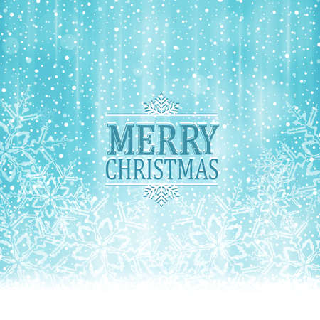 blue light background: Abstract soft blue white winter, Christmas card with snowflakes, snowfall, out of of focus light dots and light effects and the wording Merry Christmas.