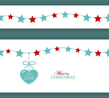 hanging string: Set of two borders which will tile seamlessly. Stars hanging on a string with a heart with ribbon saying The Gift of Love.