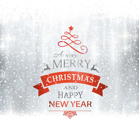 Abstract silver winter, Christmas card with snowflakes, snowfall, out of of focus light dots, stars and light effects and the wording Merry Christmas and Happy New Year. Copy space Stock Illustratie