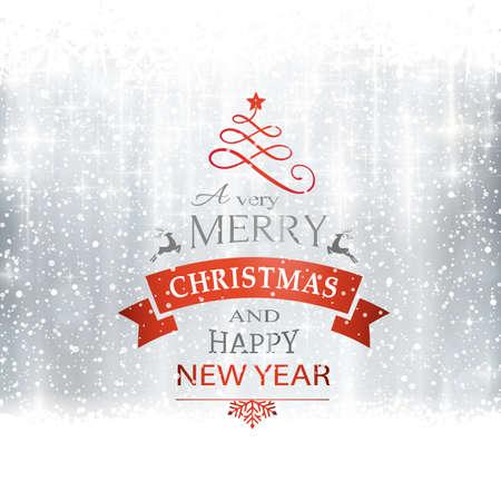 Abstracte zilveren winter, kerst kaart met sneeuwvlokken, sneeuwval, uit focus licht punten, sterren en lichteffecten en de tekst Vrolijk Kerstfeest en Gelukkig Nieuwjaar. Kopieer de ruimte Stockfoto - 46728118
