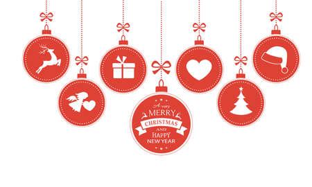 renna: Set di 7 appesi palline di Natale con i simboli, come il cappello della Santa, renna, angelo, cuore, presente e l'albero di Natale con un nastro che formano un confine versatile isolato su bianco.