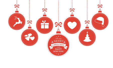 new ball: Set of 7 hanging Christmas baubles with symbols such as santa hat, reindeer, angel, heart, present and Christmas tree with a ribbon forming a versatile border isolated on white.