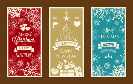 Set of typography Merry Christmas and Happy New Year banners with embellishments and Christmas ornaments.  イラスト・ベクター素材
