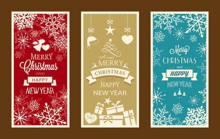 neige noel: Ensemble de banni�res typographie Joyeux No�l et Bonne Ann�e avec embellissements et d�corations de No�l. Illustration