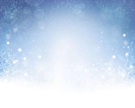 himmel hintergrund: Festliche blau weißen Hintergrund mit Sternen, Schneeflocken, aus der Fokus Lichtpunkte und Lichteffekten, die es einen festlichen und verträumte Gefühl. Kopieren Sie Platz.