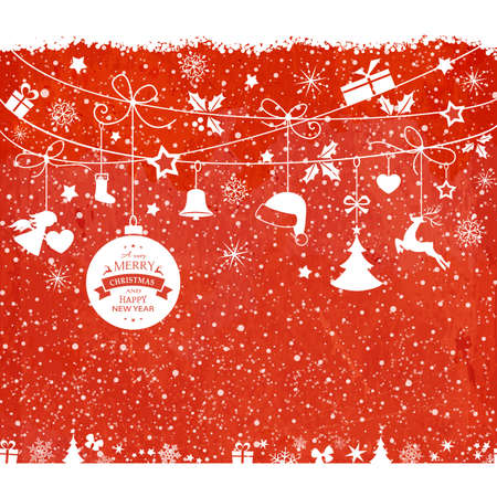 Various hanging Christmas ornaments such as Christmas bauble, santa hat, reindeer, angel, heart, present and Christmas tree with ribbons with snowfall on a red textured backdrop. Illustration